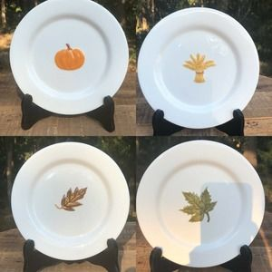 Symbols Of The Season By At Home Fall Theme Plates